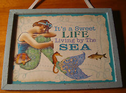 Vintage Style MERMAID BEACH WOOD SIGN Home Decor SWEET LIFE LIVING BY THE SEA