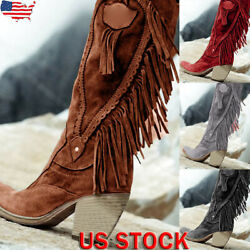 Womens Suede Tassel Cowgirl Cowboy Boots Ladies Mid Wide Calf Western Shoes Size