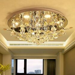 IWHD K9 Crystal Ceiling Light Fixtures Stainless Steel Modern Ceiling Lamps For