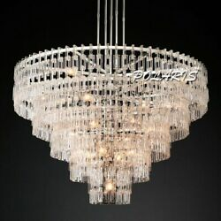 LED Ceiling Chandelier Lighting Round Crystal Chandeliers Hanging Lamp for