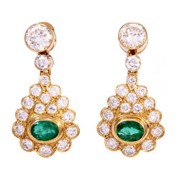 EMERALD DIAMOND PENDANT EARRINGS  14K YELLOW GOLD  1.5 CT TW EMERALDS  3.5 CT