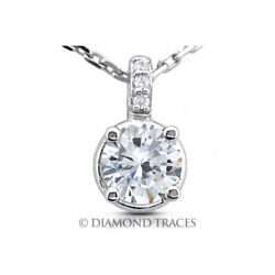 2.39 CT E-SI2 Round Cut Earth Mined Certified Diamonds 950 Plat. Classic Pendant