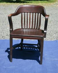 Antique Bankers Chair Red Finish $175.00