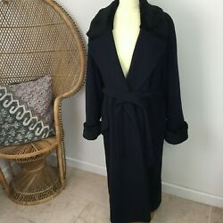 Vintage Wool Cashmere Blend Navy Long Coat Faux Fur Collar and Cuffs Sz 14 16