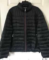 $195 NWT Mens Tommy Hilfiger Logo Packable Quilted Jacket Puffer Coat Black XL