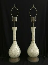 Pair of Vintage Lamps w Antique Green Transferware Foliage Pattern MCM $395.00