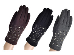 New Womens fleece lined pearl gloves touch finger Driving gloves warm winter UK GBP 6.99