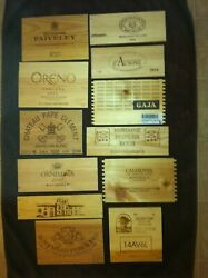 12 Different smaller wooden wine box end panels