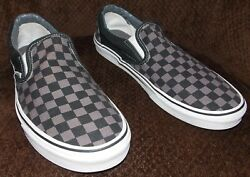 Vans Checkerboard Slip On Classic Shoes Black Pewter Size Men's 11.5