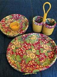 NEW Global Amici Woven Basket April Cornell Fabric Chip N Dip Serving Tray Caddy