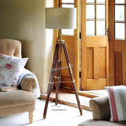 CLASSIC Vintage Tripod FLOOR Shade LAMP CORNER HOME DECOR LAMP $85.00