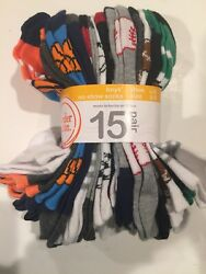 Boys Socks Wonder Nation 15 Pair Socks No Show Size L 3 9 Sports Theme New $7.19