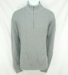 Calvin Klein Sweater Mens Size XL Gray Ribbed Long Sleeve Pullover 14 Zip A1