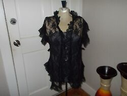 VTG Frederick#x27;s Of Hollywood Black Lace Ruffle Coverup Robe One Size $25.75