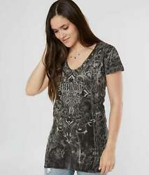 Affliction SOUL PROMISE Strappy Top Short Sleeve T Shirt Womens Gray $19.95