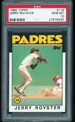 1986 Topps 118 Jerry Royster San Diego Padres PSA 10 GEM MINT $24.99