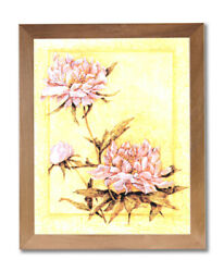 Japanese Asian Peonies Flowers Contemporary Wall Picture Honey Framed Art Print $59.97