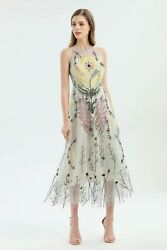 Crew neck Sleeveless Zipper Embroidery Panelled Floral Mesh Party Dresses $69.99