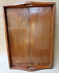 Antique office desk collectible Solid wood tray rectangular plate Cut handle $35.00