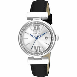 Invicta Women's Watch Wildflower Silver Tone Dial Black Leather Strap 15542 $49.99