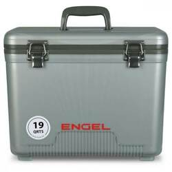Engel 19 Quart Fishing Live Bait Dry Box Ice Cooler with Shoulder Strap Silver $67.41