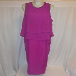 DRESS 20 22 24 Purple Beaded Layered Chiffon Cocktail Plus Size Covington NWT $24.95