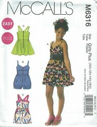 McCall#x27;s 6316 Girls#x27; Girls#x27; Plus Dresses and Rompers Sewing Pattern $6.99