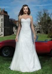 NEW $1425 womens ivory JUSTIN ALEXANDER beaded alencon venice wedding dress L 14