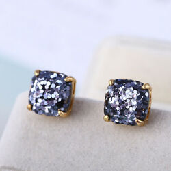 Kate Spade Small Square Stud Black Colored Glitter Earrings w Gift Box $15.19