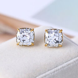 Kate Spade Small Square Stud Gold with Silver Glitter Earrings w Gift Box $15.19