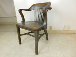 Antique 1940s Bankers Jury Windsor Desk Arm Chair Johnson Chicago  Gunlocke Co