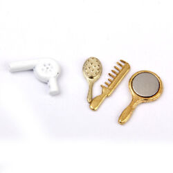1 12 Dollhouse Mini Bathroom 4pcs Comb Mirror Set Accessories Scenes Ornaments $7.17