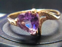 Vintage Magic Glo 10K Amethyst Heart Shaped ring Size 6 Sweetheart Promise ring $119.99