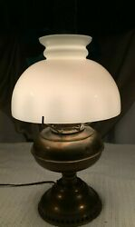 RAYO Brass Oil Antique Lamp Electrified Chimney Glass Shade 1880 Working $75.00