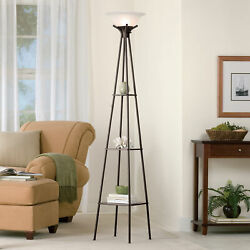 Tall Floor Lamp Shade Living Room Light Metal Display Shelf Modern Contemporary $59.46