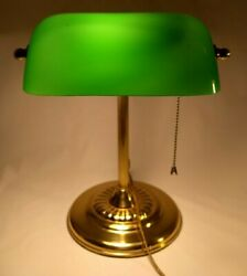 Art Deco Bankers Brass Desk or Piano Lamp Green Glass Vintage Light Pull Chain