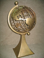 World Globe Bronze Metal Hand Crafted Large Huge Sculpture 18quot; Globe 42quot; w Base $4500.00