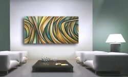 Abstract Painting 48quot; Modern Art Contemporary DECOR Mix Lang Certified Original $389.00
