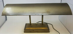 Vintage Mid Century Brass Bankers Desk Lamp Dual Supports 18