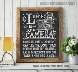 Life Is Like A Camera Print Poster Wall Kitchen Art Chalk Board Decor Motivation $10.00