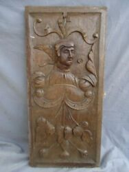 RARE 16TH CENTURY CARVED OAK PROTRUDING  PORTRAIT HEAD PANEL SCROLLING LEAVES