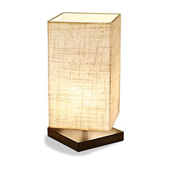Desk Lamp Simple Table Light Bedside Premium Fabric Shade Solid Wood Square New