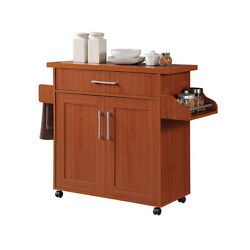 Hodedah Wheeled Kitchen Island Cart with Spice Rack and Towel Holder Cherry
