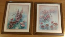 John Cheng Hummingbird with Day Lilies Fox Gloves 19quot; X 23quot; 1995 2 Piece Set $225.00