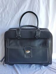 Samsonite Mobile Office unisex Black Leather Rolling Briefcase Suitcase Carry $19.99