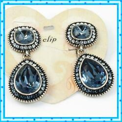 Brighton RAINDROPS Chandelier Clip Blue Earrings NWT $84 JE6336 $62.24