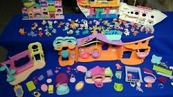Huge Littlest Pet Shop Lot 66 Pets accessories ship house exotic rare beds