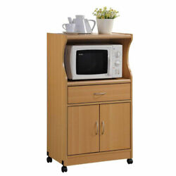 Hodedah Wheeled Microwave Island Cart with Drawer and Cabinet Storage Beech
