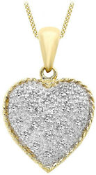 Carssma Gold 9ct Yellow Gold 0.10ct Whte Damond Heart Shaped Pendant on Curb of