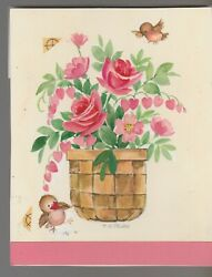 VALENTINES Baby Birds w Roses in Basket 5.25x6.5quot; Greeting Card Art #V3658 $20.25